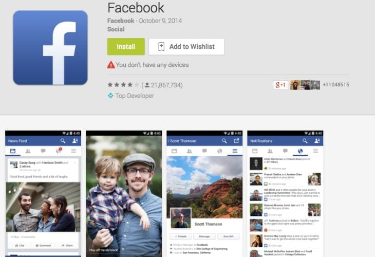 Facebook app Android update