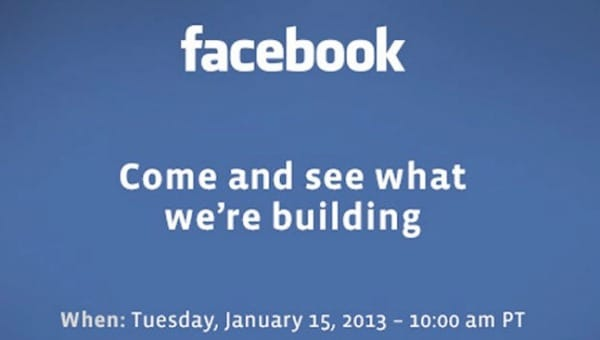 Facebook next big thing event, live stream for Jan 2013