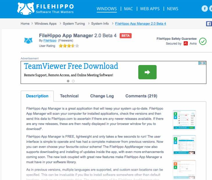FileHippo App Manager May update
