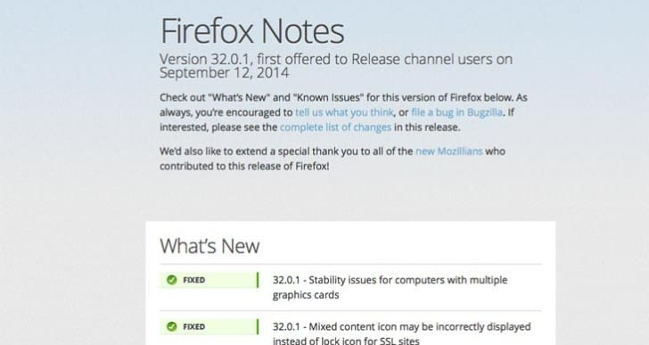 Firefox 32.0.1 update release notes