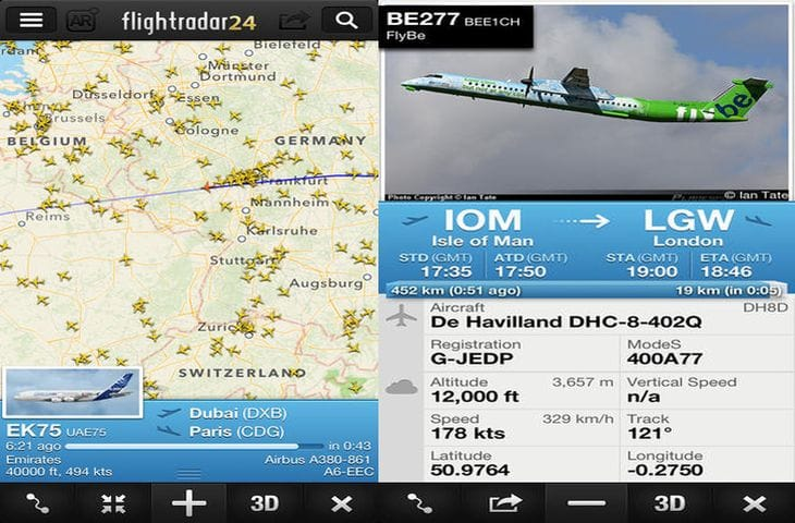 Flightradar24 app for iPad and Android