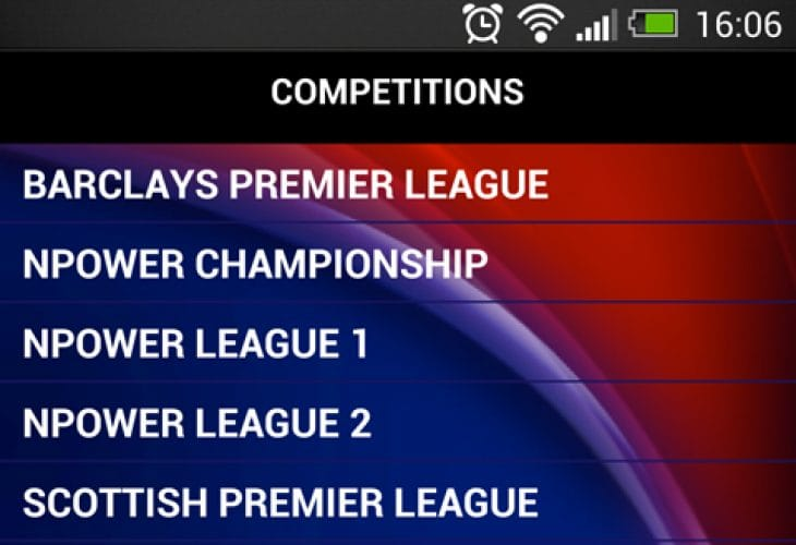 Football results by app on Android and iPad