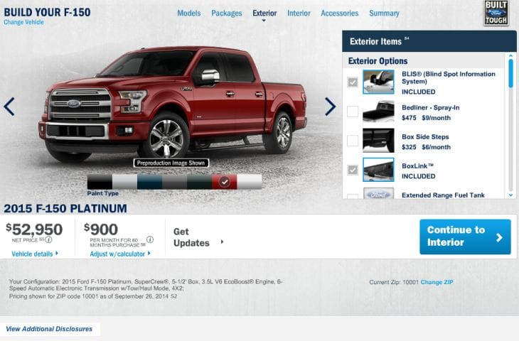 Ford F-150 Configurator for 2015 model