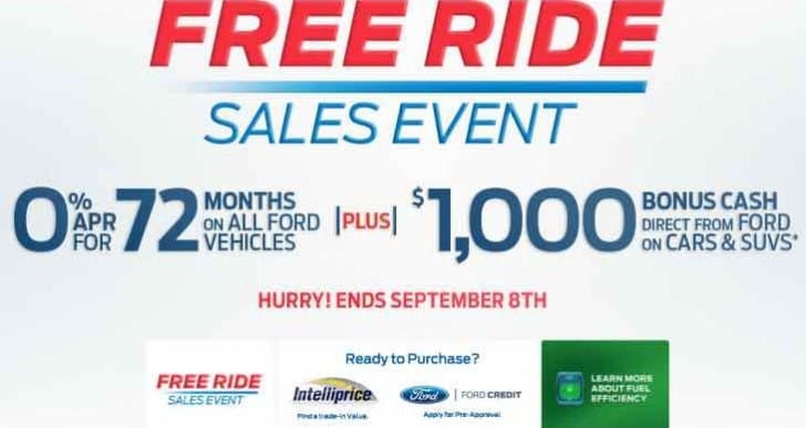 Ford Free Ride sales event until Sept 2015