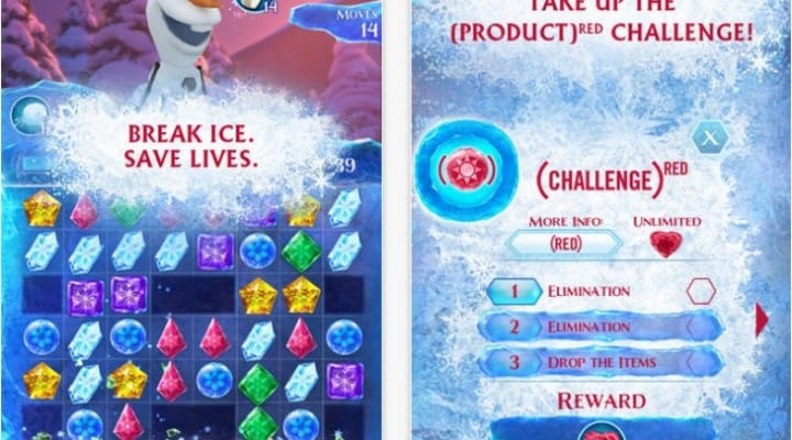 Frozen Free Fall iOS app update adds RED challenge