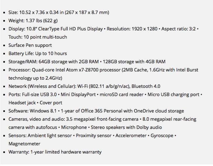 Full Surface 3 technical specs