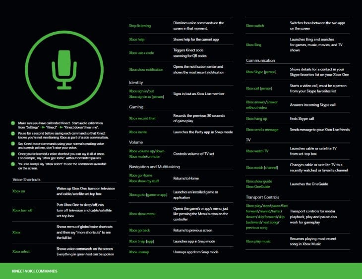 Full Xbox One voice command list small