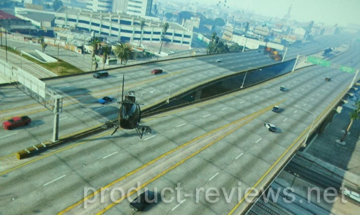 Flying the Buzzard Attack Helicopter in GTA V will attract police attention if shooting cars