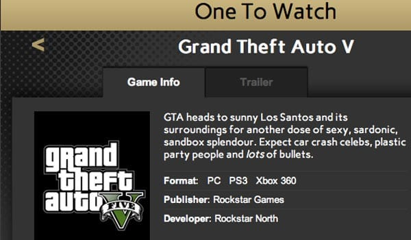 GTA V in Golden Joystick Awards for 2012