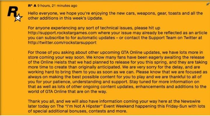 GTA V Online Heists delay explained