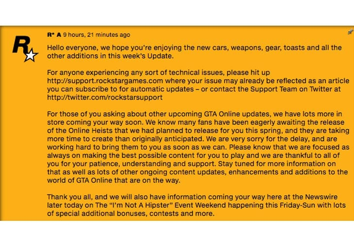 GTA V Online Heists delay explained – Product Reviews Net