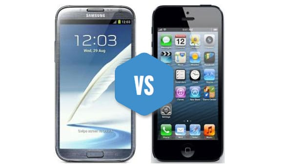 galaxy note 2 superiority visualized vs  iphone 5