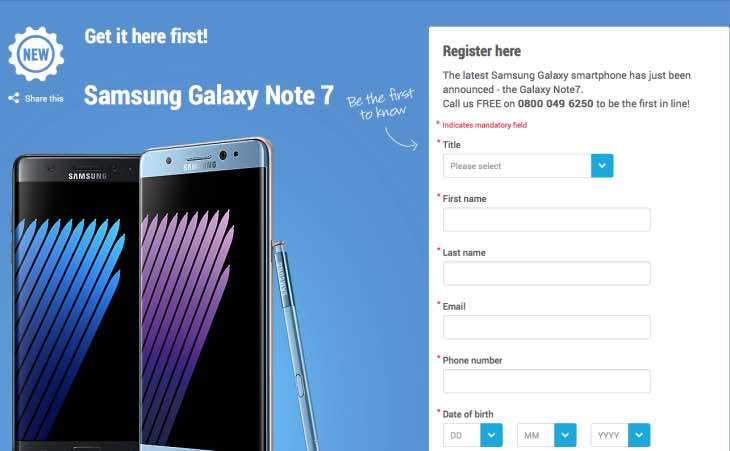 Galaxy Note 7 pre-order status at Carphone Warehouse