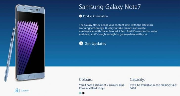 Galaxy Note 7 pre-order status at O2, Carphone Warehouse