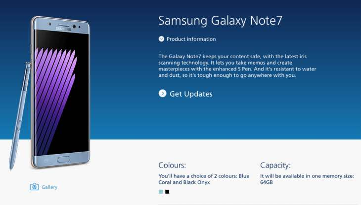 Galaxy Note 7 pre-order status at O2