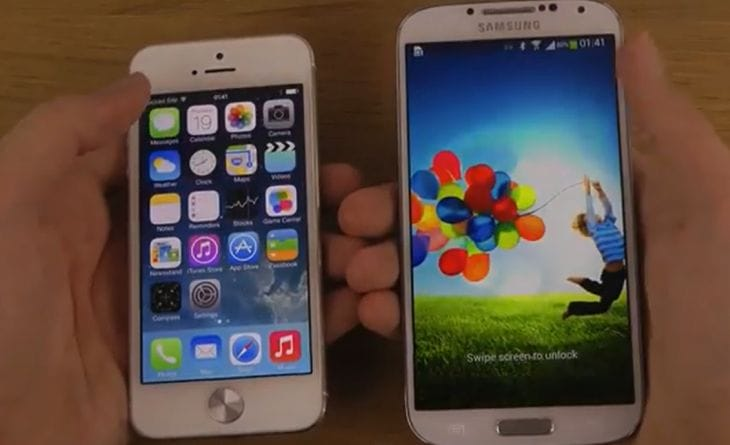 Galaxy S4 vs. iPhone 5 with iOS 7 public