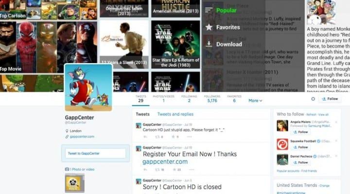 Gappcenter Twitter growth by Cartoon HD 2 wait