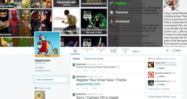 Gappcenter Twitter growth by Cartoon HD 2 wait
