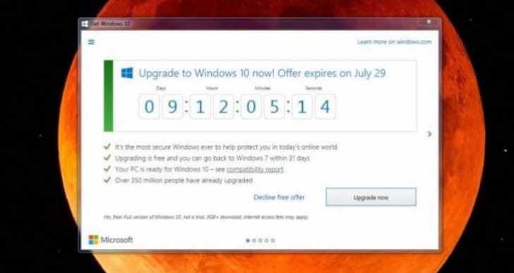 Get Windows 10 app upgrade deadline countdown