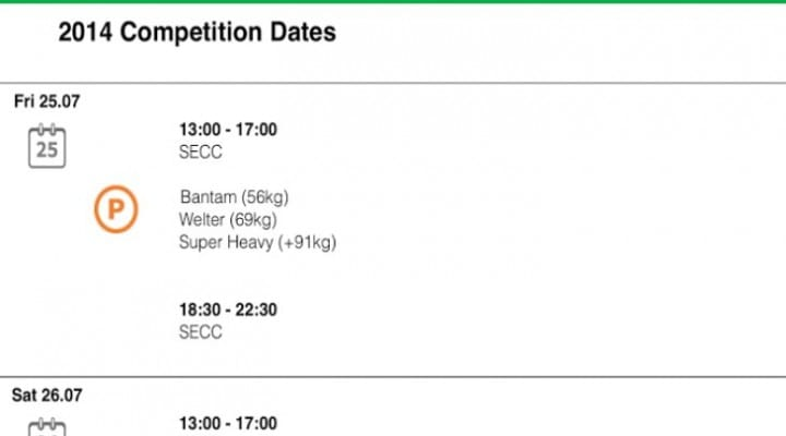 Glasgow Commonwealth Games schedule by app
