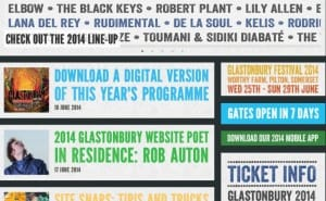 Glastonbury 2014 lineup in iOS app