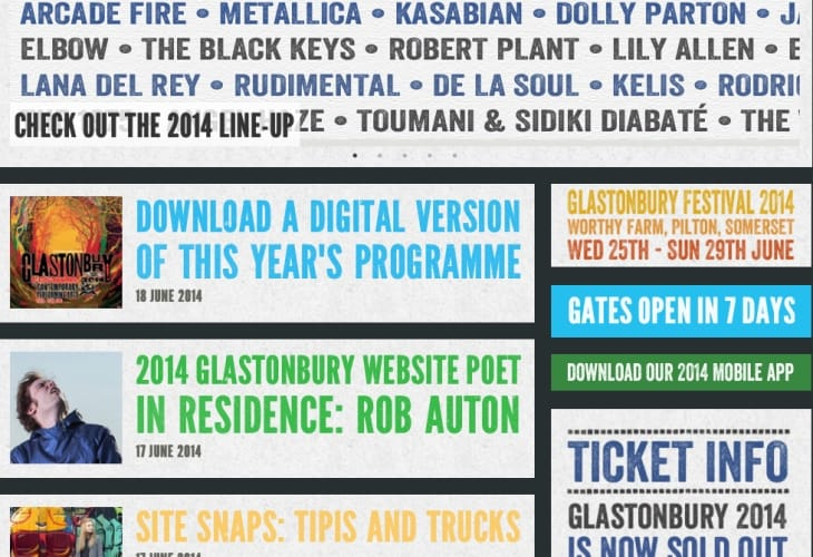 Glastonbury 2014 lineup in iOS app