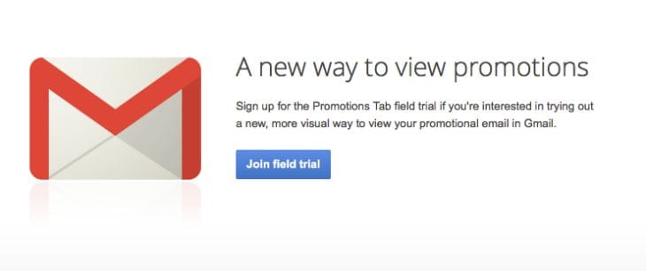 Gmail visual update sign-up