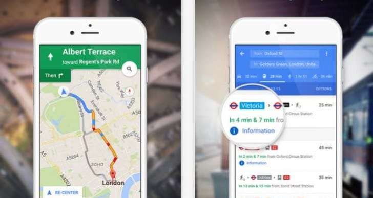 Google Maps with new dedicated taxi services tab