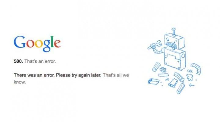 Google Plus 500 Error, as tweets report down