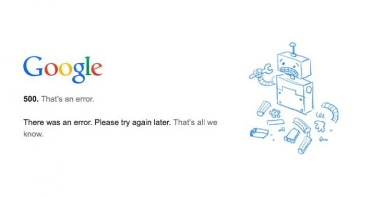 Google Plus 500 Error, as tweets report down