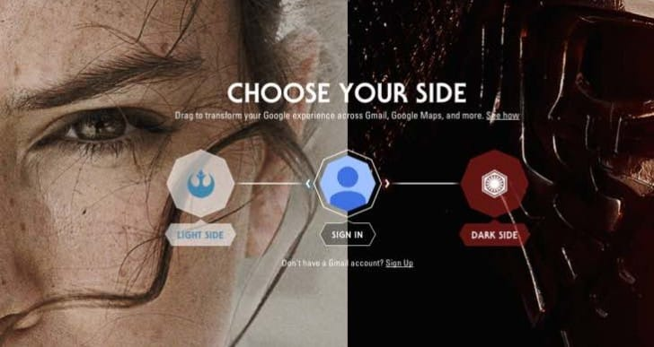 Google apps customization: Star Wars Light or Dark Side?