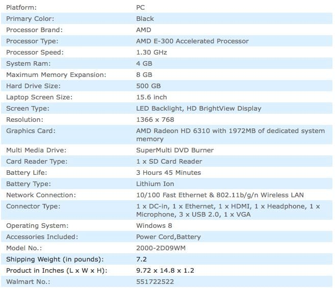 Specs for the HP 2000-2d09WM laptop