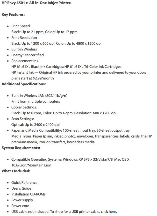 HP Envy 4501 printer specs