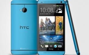 HTC One Vivid Blue color up close