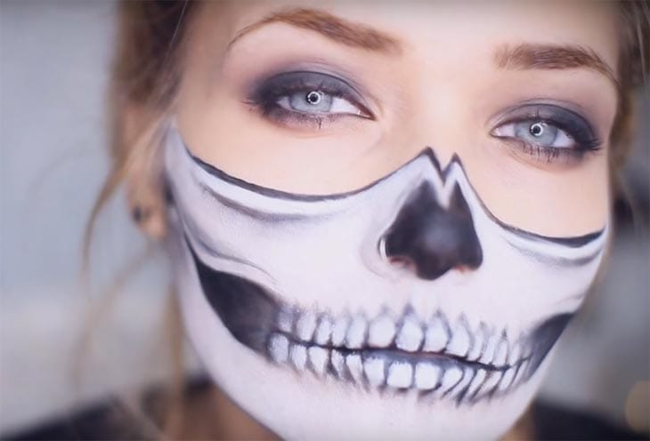 Half-Skull-Halloween-Makeup-Tutorial