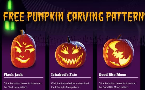 Halloween pumpkin rush for carving patterns, stencils, tools