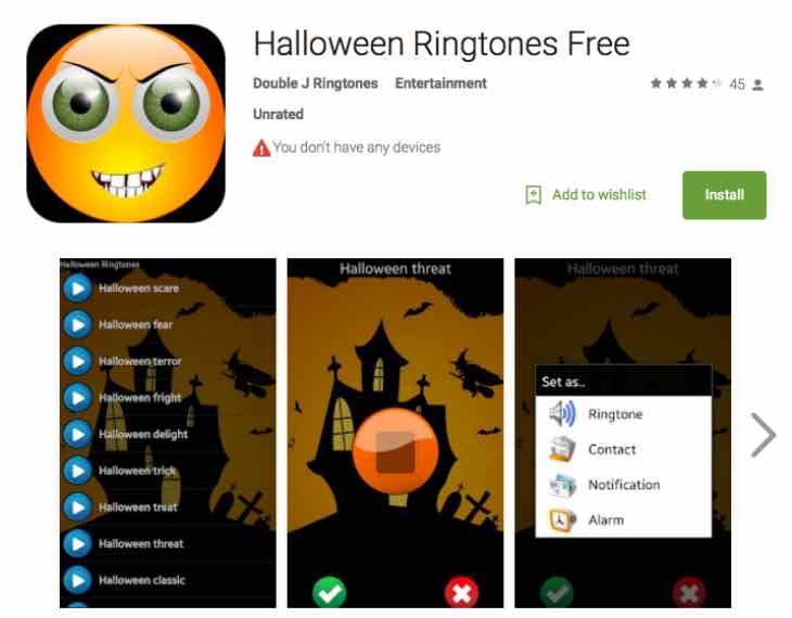 Halloween ringtones with these Android apps