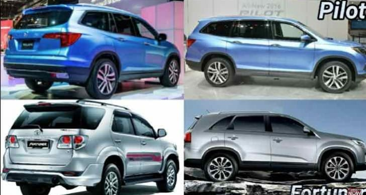 Honda Pilot 2016 Vs Toyota Fortuner visual comparison