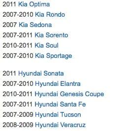 Hyundai and Kia recalls for 2013