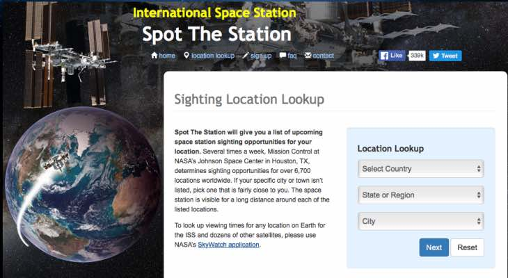 ISS Santa Tracker flyover times
