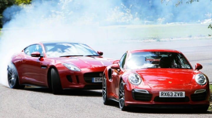 Jaguar F-type R coupe vs. Porsche 911 Turbo S ambitious shootout