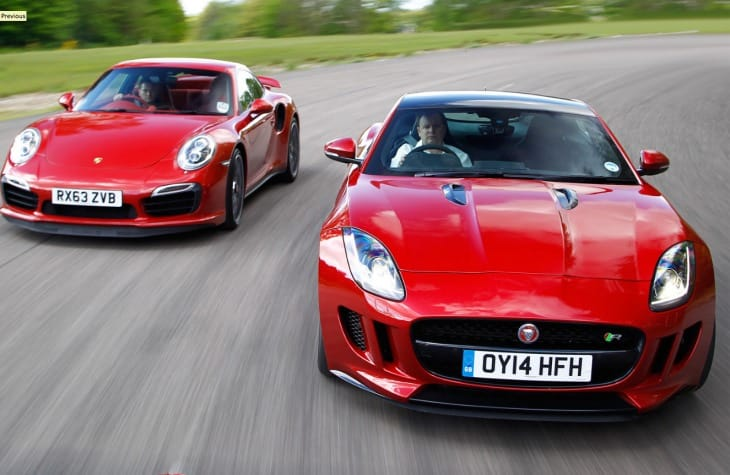 Jaguar F-type R coupe vs. Porsche 911 Turbo S