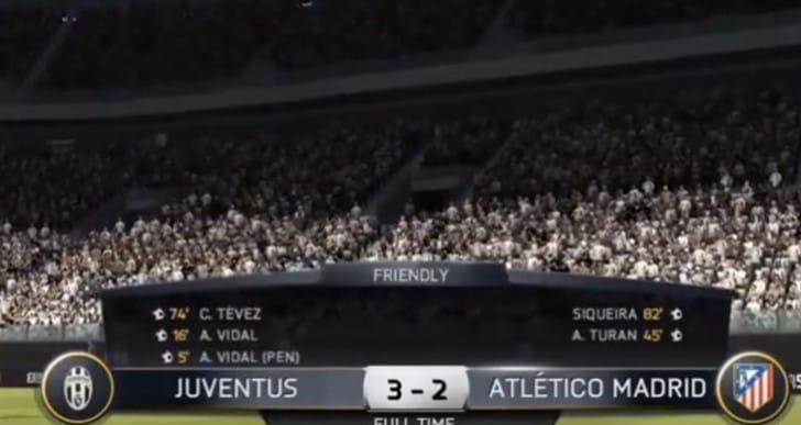 Juventus vs Atletico Madrid with PS4, Xbox 360 graphics