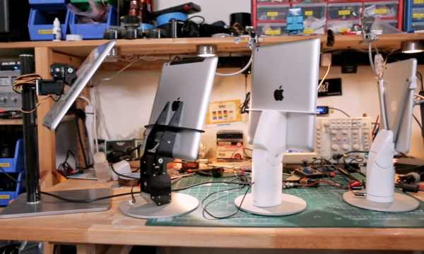 KUBI motorized tablet stand visualized with iPad