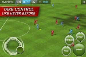 LFC vs. Man City mobile match show FIFA 15 controls
