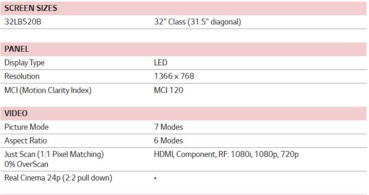 LG 32LB520B specs
