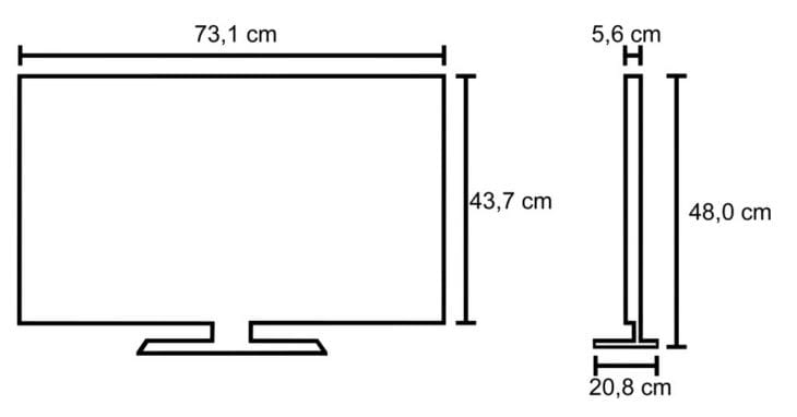 LG 32LB550B 32-inch LED TV measurments