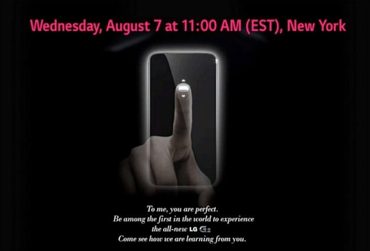 LG G2 Aug 7 event start time UK, US