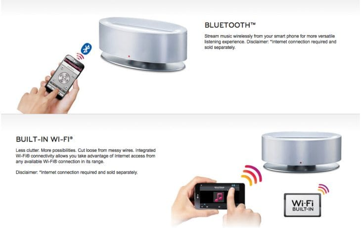 LG wireless speakers with iPhone and Android docking