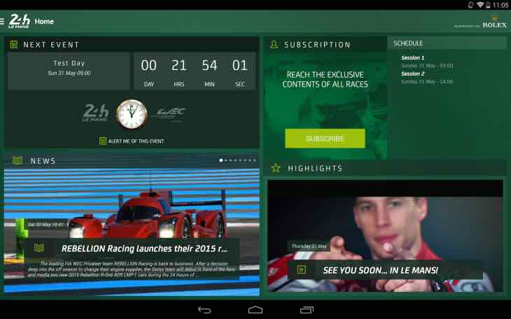 Le Mans 2015 app for timing